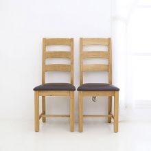 [미세스크레치][Cheltenham] Slatted Dining Chair With Pu Seat Pad (하나사면 하나더 1+1)