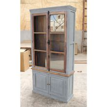 [100일예약][vintage wood] WOODEN CABINET 2 PART WITH GLASS DOOR (SBI VD B 698)